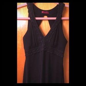 Open-Back Plunge V-Neck Little Black Dress LBD M